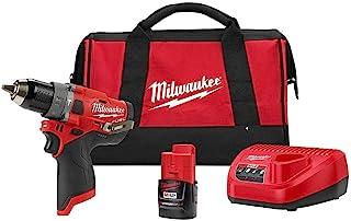 Milwaukee 2504-21 M12 燃料 1.27 厘米 锤子钻套装带 2.0 安时电池和包