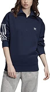 adidas 阿迪达斯女士原创毛衣 3 条纹时尚运动衫(学院蓝,S 码)