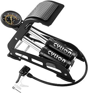CYLION 带压力计的地板自行车泵,双缸脚泵适用于自行车、摩托车、汽车、球和其他充气产品,脚踏泵适用于自行车轮胎