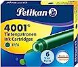 Pelikan 4001 TP/6 Ink Cartridges for Fountain Pens, Dark Green, 0.8ml, 6 Pack (300087)