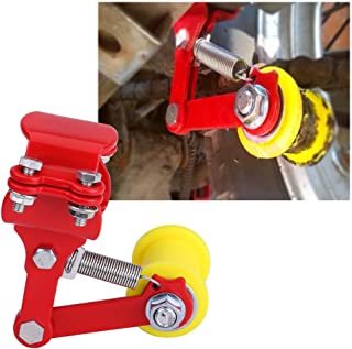 Delaman 摩托车通用链条张紧器导轨污点自行车切碎机带备用长螺栓调节器(红色)