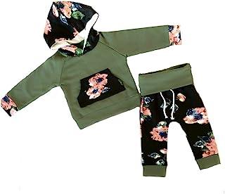 女婴花卉图案运动服长袖连帽衫和裤子套装,橄榄绿