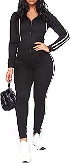 女式两件套运动服套装 - 长袖休闲拉链连帽衫瑜伽锻炼慢跑套装 黑色1 Large