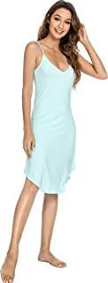 YOSOFT 女式竹制睡袍柔软全滑连衣裙弹力睡裙可调节肩带睡衣加大码家居服 S-4X 码
