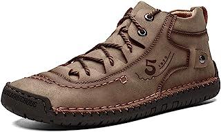 YONGJIA 男式皮革休闲系带驾驶步行及踝靴拼接工作时尚鞋
