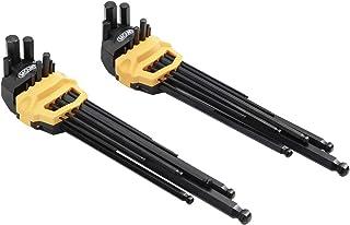 Mount 18 件超长臂球端六角扳手套装,专业球头内六角扳手,Cr-V 钢,便携式驾驶工具套件,带铰链携带盒,用于家庭维护,车辆修理,公制 / SAE