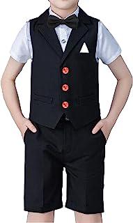 Yilaku 男幼童套装 5 件背心 + 裤子 + 衬衫 + 蝴蝶结小男孩正装西装套装