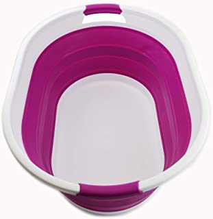SAMMART 可折叠塑料洗衣篮 – 椭圆形浴缸/篮 – 可折叠储物容器/收纳袋 – 便携式洗衣桶 – 节省空间的洗衣篮(白色/深兰花)