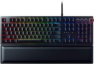 Razer 雷蛇 Huntsman Elite USB QWERTY 美国英语键盘 黑色 键盘(有线, USB,光机制钥匙开关,数字,RGB LED,黑色)