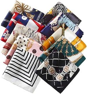 XINGZI 10 件女式丝绸围巾方形混合图案和颜色时尚配饰套装围巾头带腰带头饰发带发饰配件(混合颜色随机)