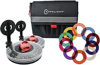 Rotolight 面试照明套件,带 2 个高清 LED 隐形环灯,2 个支架颜色过滤器还包含皮带袋