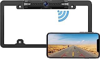 车牌无线备用摄像头 - IP69 防水夜视车牌架相机,适用于汽车、卡车、货车、皮卡车、SUV、WiFi 备用相机,适用于 iPhone/Android 手机,指南线开/关