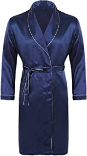 Lejafay 男式丝绸缎和服浴袍及膝长袖浴袍礼服睡衣