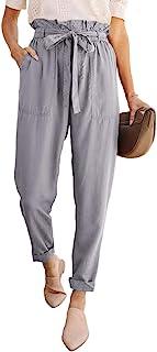LOSRLY 女式加大码条纹宽腿束带高腰阔腿瑜伽裤