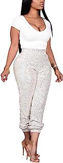 Aro Lora 女式高腰亮片休闲派对长款铅笔紧身长裤