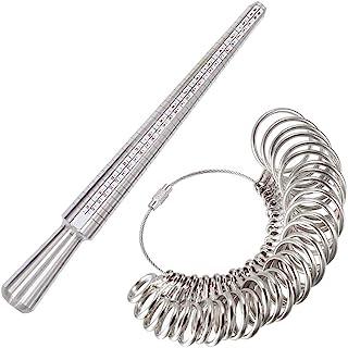 戒指尺寸测量工具套装,包括 1-15 美国金属手指尺寸测量仪 31 件半尺寸,戒指芯棒,用于珠宝尺寸测量制作用品