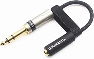 [ 1/4 英寸 TRS 6.35mm 公头] 6.35mm 公头到 4.4 毫米母头 8 核镀银耳机耳机音频适配器线新款 6.35mm 立体声到 4.4 毫米平衡 [ 4.4 毫米内螺纹]