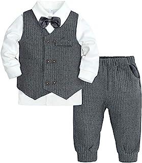 男婴 3 件套绅士套装儿童正式套装蝴蝶结长袖衬衫+ 燕尾服背心 + 裤子
