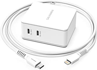 Galvanox 双端口 iPhone 充电器 (36W) USB-C 快速充电 PD 墙壁插头 带苹果认证 USB-C 闪电数据线 - 快速充电适配器适用于 iPhone 8/8 Plus/XR/Xs Max/11 Pro (电源输出 3.0)