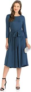 标志性奢华女式 A 字型中长连衣裙,带束腰带
