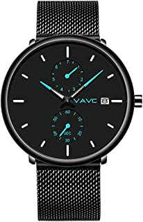 男式手表超薄极简主义防水时尚腕表男式中性款连衣裙黑色不锈钢网眼表带