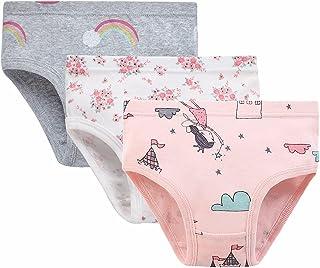 女童 3 条装内裤三角花卉内裤幼儿卡通图案内裤