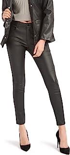 Bamans 女式仿皮裤子,紧身弹力裤,带口袋,工作休闲裤女式