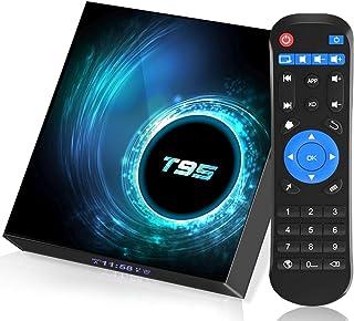 电视盒,Android 电视盒 10.0 4GB RAM 64GB ROM,T95 Android 电视盒 Allwinner H616 四核 64 位 2.4G/5.8GHz WiFi 蓝牙 5.0,6K HD/ 3D/ H.265 10/1...