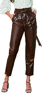 WDIRARA 女式时尚纸袋腰部自系带 PU 皮短裤