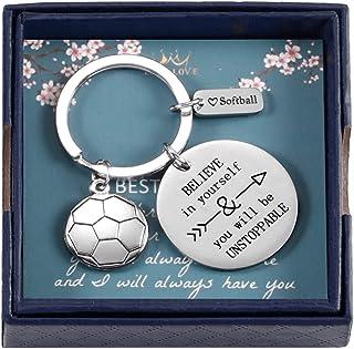 足球运动员的足球钥匙链礼物 相信自己 你会成为不可阻挡的钥匙链足球吊坠首饰 适合男士青少年男孩女孩足球队和教练礼物