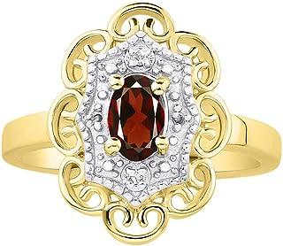 RYLOS 花卉图案戒指 椭圆形宝石和纯正闪亮钻石 14K 黄金镀银 .925-6X4MM 彩色石头诞生石戒指 Red Garnet January