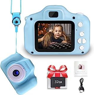 LANXUN 儿童数码摄像机,2.0 英寸 IPS 玩具数码摄像机,适合生日、幼儿相机,带 32GB SD 卡,适合 3-8 岁女童男孩
