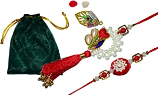 2 件套 Rakhi Lumba 兄弟Bhaiya Bhabhi Raksha Bandhan 礼物 Rakhi Thread Rakhi 手链,带 Roli Chawal 和贺卡礼品包袋/Potli 包