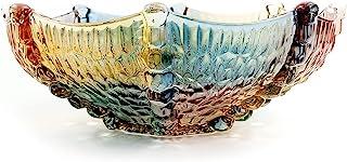 EWEIGEER 10 英寸(约 27.2 厘米)高级水晶玻璃彩色水果糖果零食碗,艺术玻璃碗花形,酷炫设计