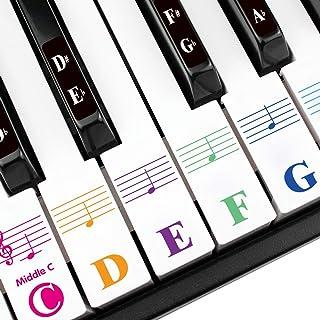 钢琴键盘贴纸适用于 88/76/61/54/49 键。彩色大胆的大字母钢琴贴纸用于学习。多色透明,可拆卸