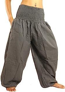 jing shop 高剪裁哈伦宽松裤带阔腿和宽松腰棉质