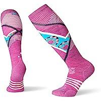 Smartwool 女式 PhD 滑雪袜 - 浅色 Elite 图案 中筒 美利奴羊毛高性能袜