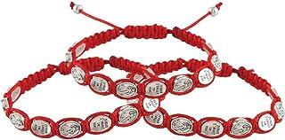 Needzo 红色神圣慈善勋章流苏手链,耶稣我信任你坠饰,可调节基督教珠宝,适合男孩、女孩,8 英寸,3 件装
