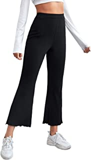 MakeMeChic 女式生菜花边高弹性腰围喇叭裤