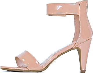 guilty SHOES 女式经典舒适性感露趾脚踝绑带连衣裙细高跟细跟凉鞋凉鞋