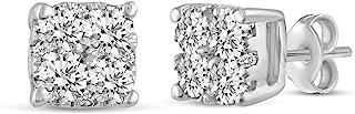 0.30 克拉至 1.00 克拉天然钻石耳钉 标准纯银