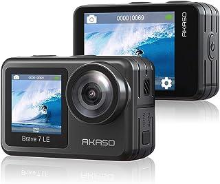 AKASO Brave 7 LE 4K30FPS 20MP WiFi 运动相机带触摸屏 Vlog 相机 EIS 2.0 遥控器 131 英尺水下摄像机带 2 X 1350 mAh 电池