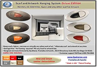 FramelessArtworks 围巾悬挂系统 Deluxe Black Leather Edition With Stainless Steel Standoffs SCARFHGKIT01