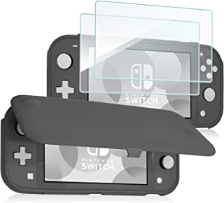 ProCase Nintendo Switch Lite 翻盖保护套,带 2 件装钢化玻璃屏幕保护膜,超薄保护翻盖保护套,带磁性可拆卸前盖 适用于 Nintendo Switch Lite 2019 - 灰色