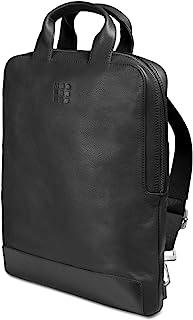 Moleskine 双肩包 15 英寸电脑收纳 商务背包 经典 皮革 设备包 竖型 黑色 One Size