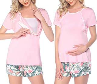 Ekouaer 女式孕妇睡衣套装系扣哺乳短裤套装短袖哺乳*睡衣