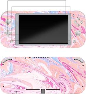 Skin for Switch Lite 3M 乙烯基全盖贴纸贴花,2 件钢化玻璃屏幕保护膜适用于 Switch Lite(粉色大理石)