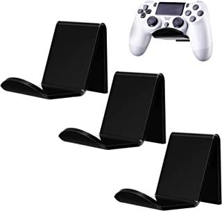 3 件游戏控制器壁挂支架兼容 Xbox One/ Elite/ PS4/ Nintendo Switch/ Pro,亚克力通用视频游戏控制器配件,带 3 件电缆夹,黑色