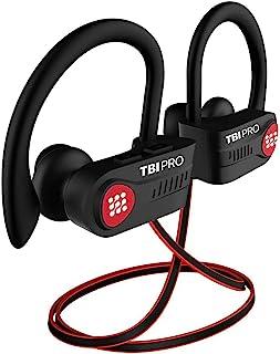 蓝牙耳机,带 / 10+ 小时电池 - 轻质,IPX7 防水 - 无线运动耳机 w/Mic - 入耳式耳塞 Powerbeats 风格 适用于健身房跑步锻炼 男女 黑色/红色 小号