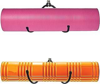 壁挂式瑜伽垫泡沫滚轮和毛巾架挂钩,运动垫存储架用于在健身课程或家庭健身房悬挂瑜伽带和阻力带,可调节尺寸,*大 20 磅 - (2 件装)
